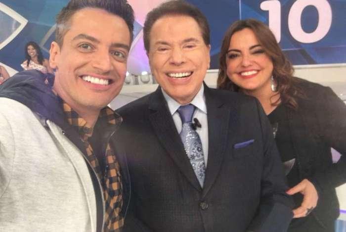 L�o Dias, Fab�ola Reipert e Silvio Santos em grava��o do 'Jogo das Tr�s Pistas'