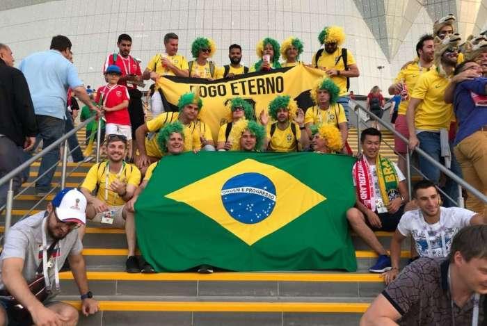 Grupo de torcedores brasileiros na Rússia