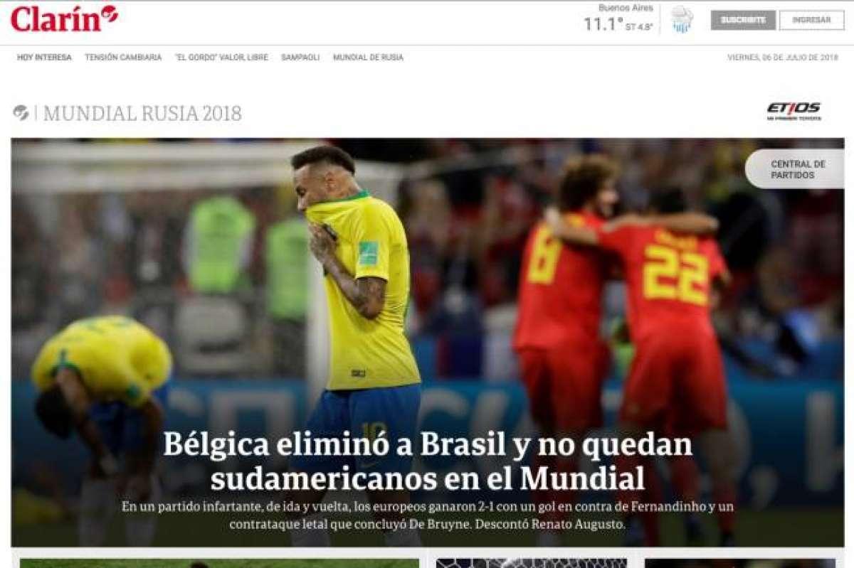 Argentina  Clarín fala da ausência de sul-americanos na semifinal Reprodução.  França  Le Monde destacou a vitória Reprodução 5edc37d96b049