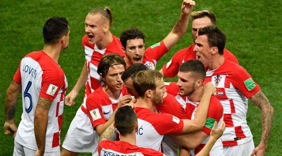 Croácia comemora gol sobre a França