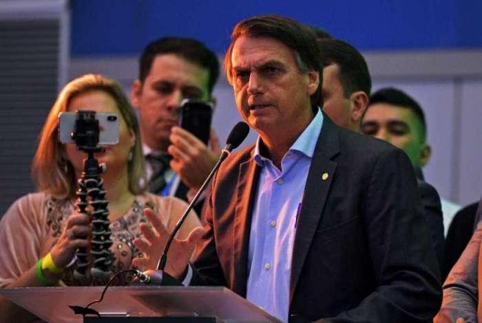 Jair Bolsonaro discursou em lançamento de candidatura neste domingo