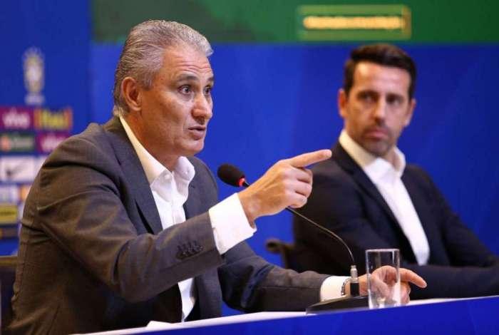Tite e o coordenador de sele��es, Edu Gaspar: come�o de um novo ciclo visando � Copa do Mundo de 2022