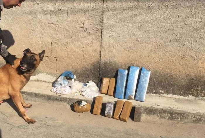 Policiais do Batalhão de Ações com Cães prenderam um criminoso e apreenderam drogas, ainda não contabilizados