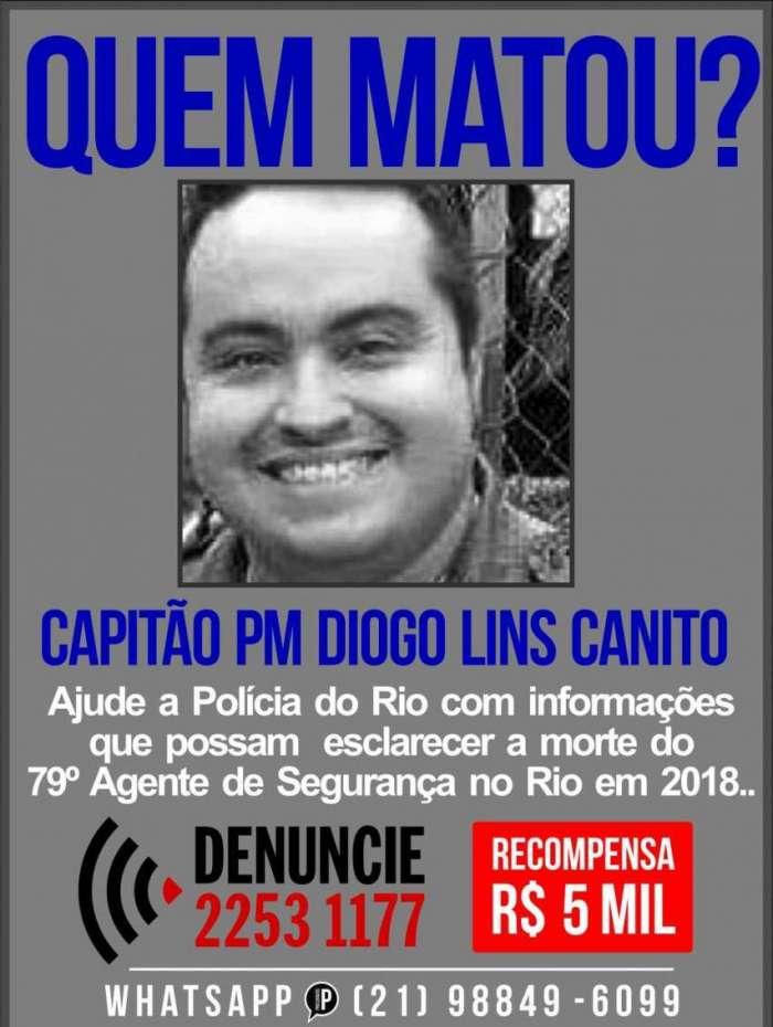 Cartaz pede informações sobre assassinos de oficial da PM em Marechal Hermes