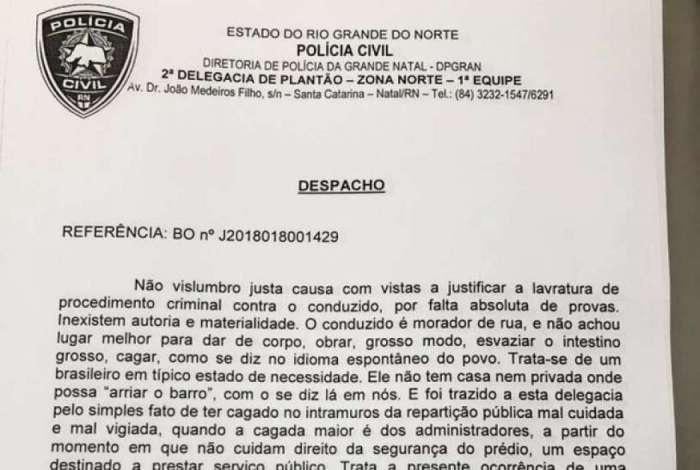 Despacho de delegado do Rio Grande do Norte chamou a atenção por expressões populares