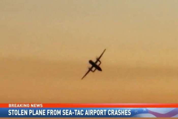 Avião caiu após ser roubado nos EUA