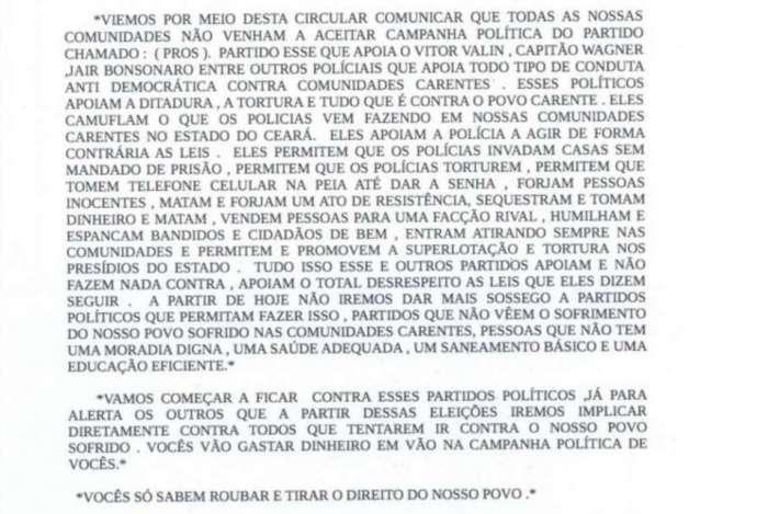Circular atribuída ao Comando Vermelho do Ceará proíbe candidatos que 'apoiam a ditadura, tortura e tudo que é contra as comunidades carentes' de fazer campanha nas áreas dominadas pela facção