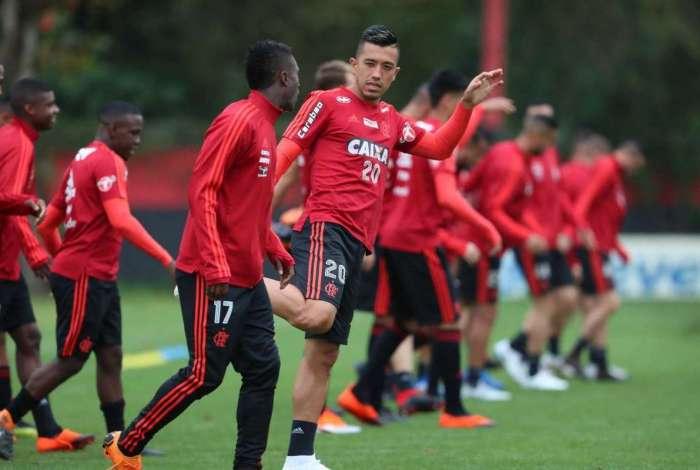 Uribe treina no Ninho do Urubu: o colombiano fez um gol pelo time rubro-negro