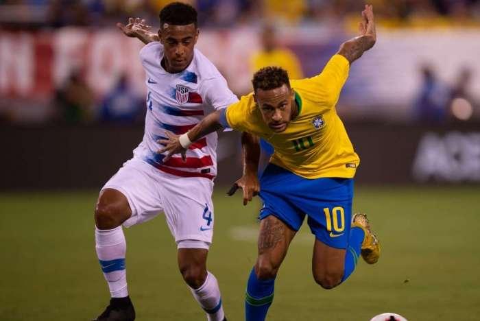 Neymar da Seleção Brasileira durante partida contra os Estados Unidos no MetLife Stadium em Nova Jersey
