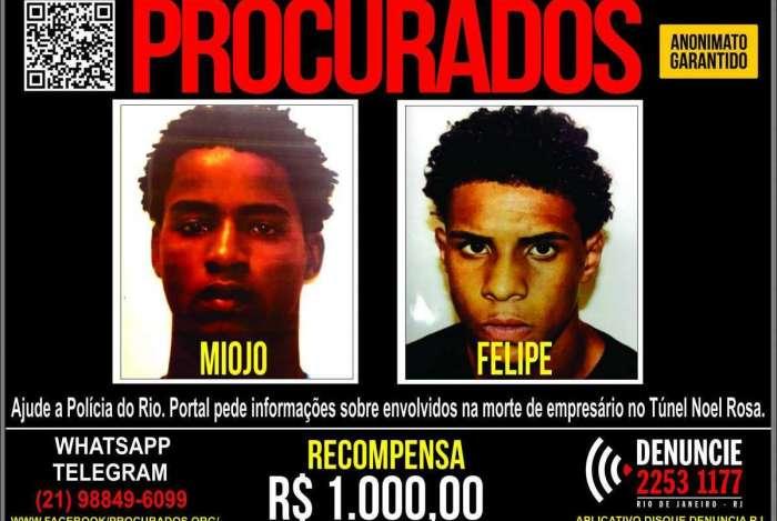 Miojo e Felipe são procurados por morte de empresário no Túnel Noel Rosa