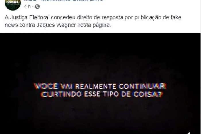 MBL publica vídeo de direito de resposta de Jaques Wagner (PT-BA)