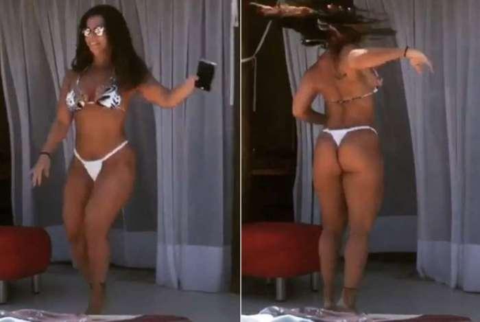 Viviane Araújo mostra samba no pé em vídeo