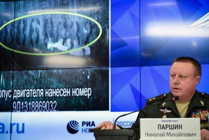 Nikolái Parshin, chefe do departamento de Artilharia e Mísseis do ministério russo da Defesa durante entrevista coletiva em 17 de setembro, em Moscou