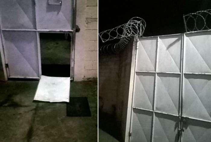 Portão e cerca foram danificados