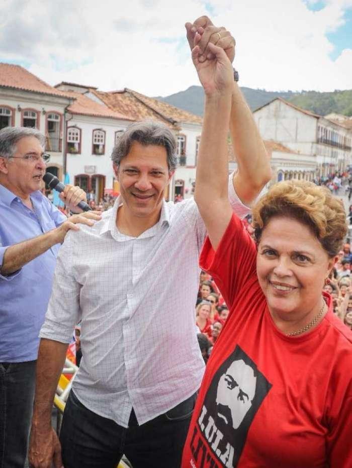 Candidato à Presidência pelo PT, Fernando Haddad, e ex-presidente Dilma, candidata ao senado em Minas Gerais