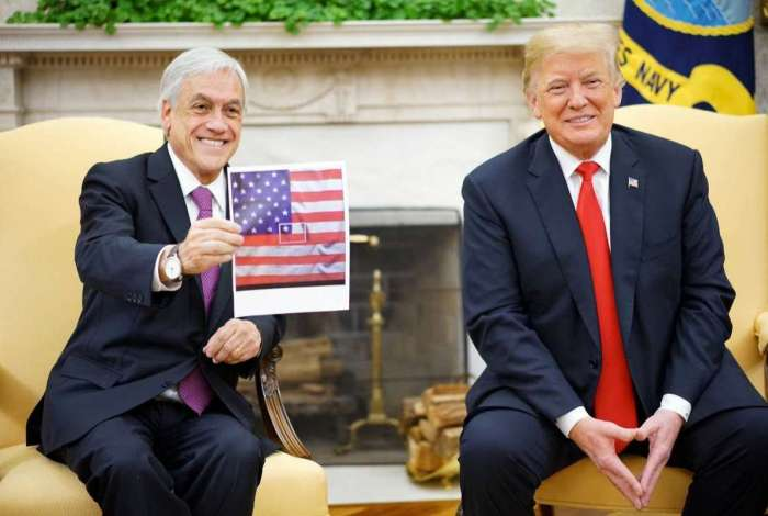 Donald Trump recebe o presidente do Chile, Sebastián Piñera