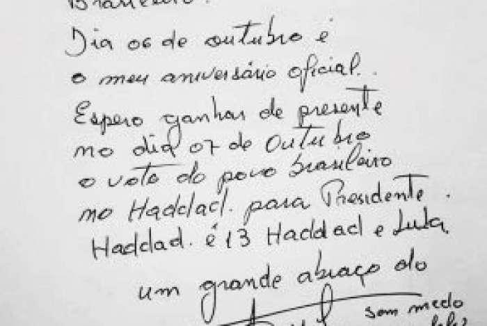 Lula escreve carta pedindo votos a Haddad