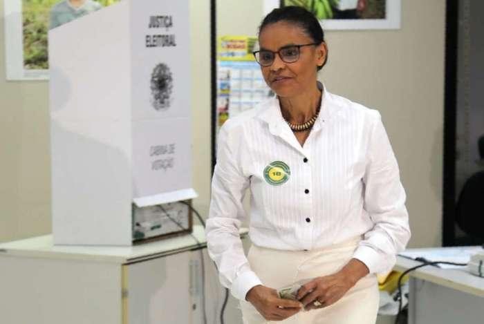 Marina Silva (Rede) ficou em oitavo lugar no primeiro turno, com 1% dos votos