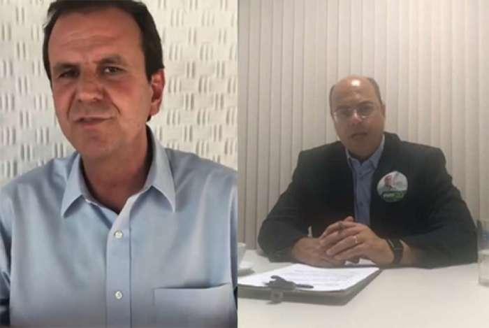 Wilson Witzel (PSC) e Eduardo Paes (DEM) trocaram farpas em vídeos divulgados nas redes sociais