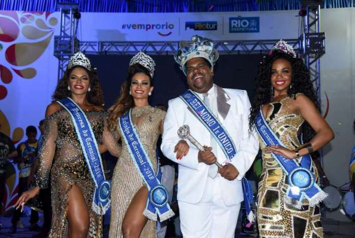 Corte momesca 2018: Rei Momo Milton Júnior, rainha Jéssica Maia e as princesas do carnaval do Rio, Deisiane Jesus e Cinthia Camillo,