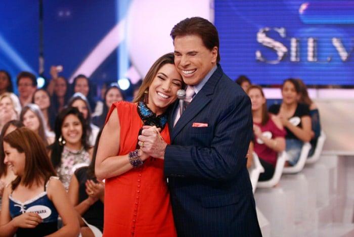 Patrícia Abravanel e Silvio Santos em foto antiga durante o 'Programa do Silvio Santos'