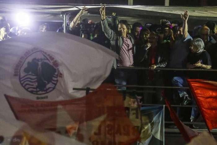 Haddad durante comício em São Paulo