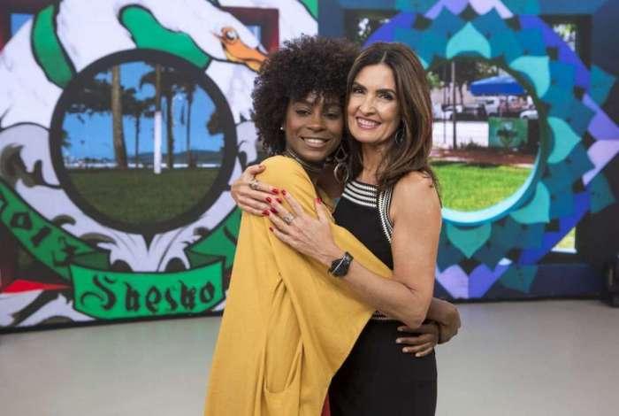Jennifer Dias e Fátima Bernardes nos bastidores do 'Encontro'