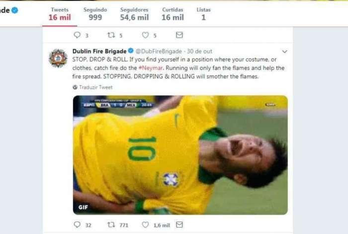 Neymar foi citado pelos bombeiros irlandeses