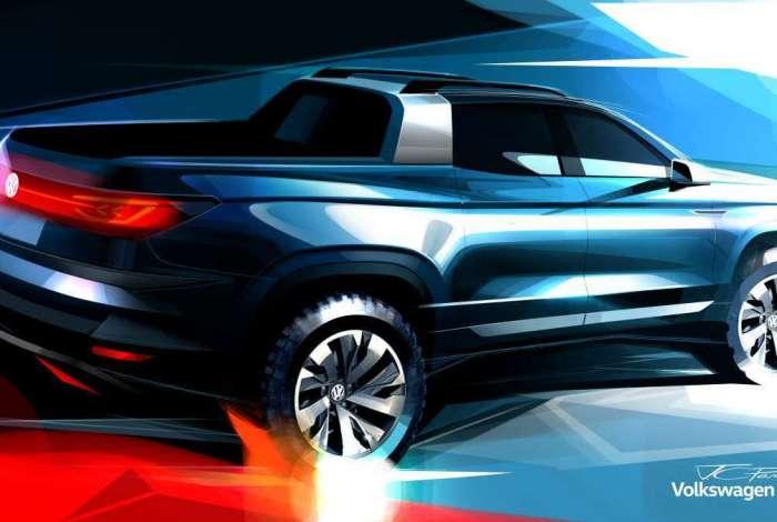 Picape tem linhas parecidas com o visto no novo SUV compacto T-Cross, revelado na semana passada