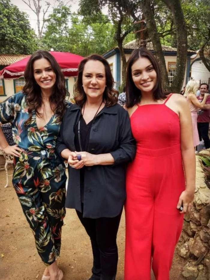 Simone Zucato, Elizabeth Savalla e Talita Fusco, que serão respectivamente  Liliane, Mirtes e Roseane em 'O Sétimo Guardião'