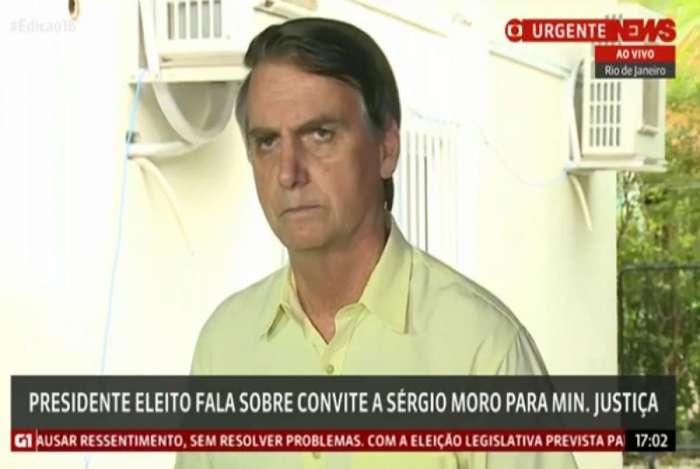 Bolsonaro, em entrevista, comemorou entrada de Moro no ministério