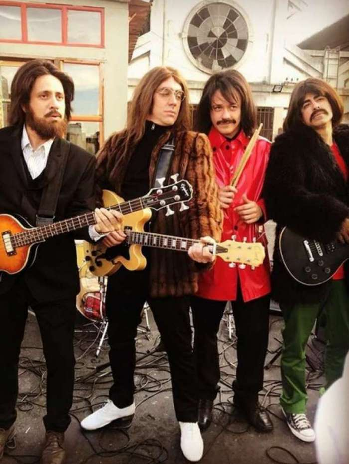 Elenco de 'Tá no Ar a TV na TV' Maurício Rizzo como Paul McCartney, Marcelo Adnet como John Lennon, Danton como Ringo Starr e Marcius Melhem como George Harrison