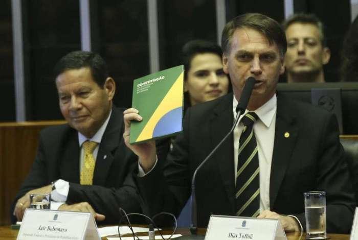 Presidente eleito Jair Bolsonaro no Congresso Nacional, em comemoração aos 30 anos da Constituição Federal