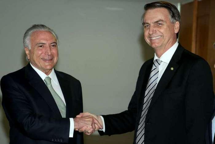 Ex-presidente Michel Temer e Jair Bolsonaro