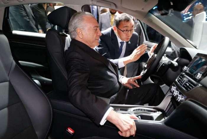Presidente Michel Temer durante a abertura do Salão do Automóvel, em São Paulo