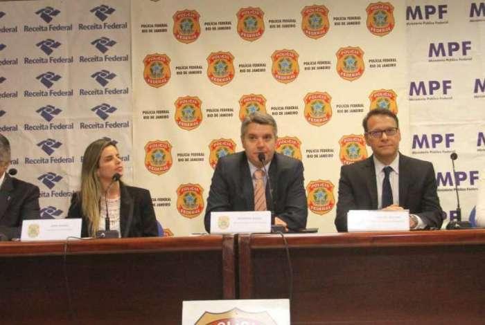 Entrevista coletiva na Superintendência da Polícia Federal, no Rio de Janeiro, sobre a operação Furna da Onça