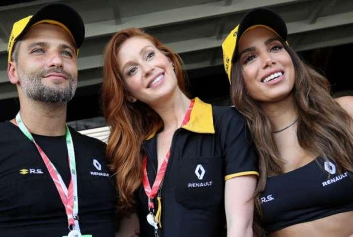 Bruno Gagliasso, Marina Ruy Barbosa e Anitta em evento da Fórmula 1