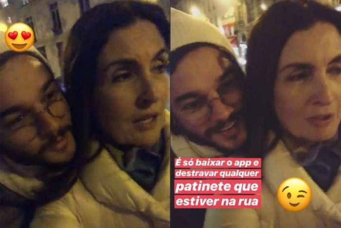 Túlio Gadelha e Fátima Bernardes andam de patinete juntinhos