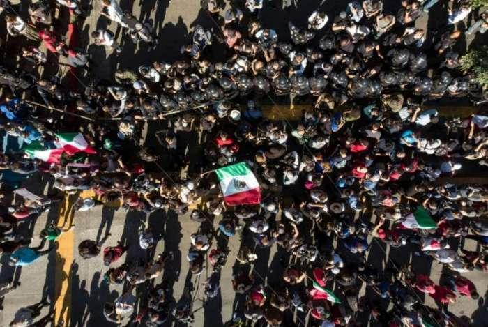Protesto na cidade de Tijuana, fronteira com os Estados Unidos