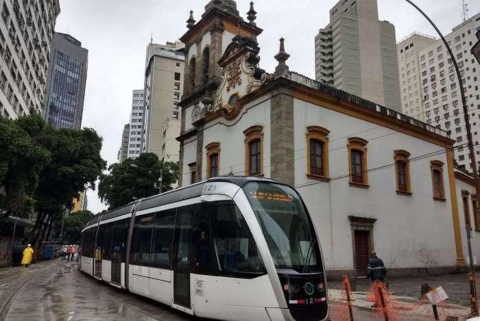 Trecho do VLT no Centro do Rio