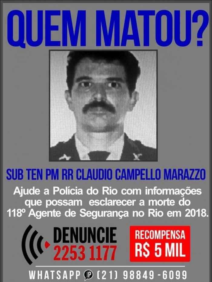 Portal dos Procurados pede informações que levem a identificação e localização dos criminosos que mataram o subtenente Claudio Campello Marazzo