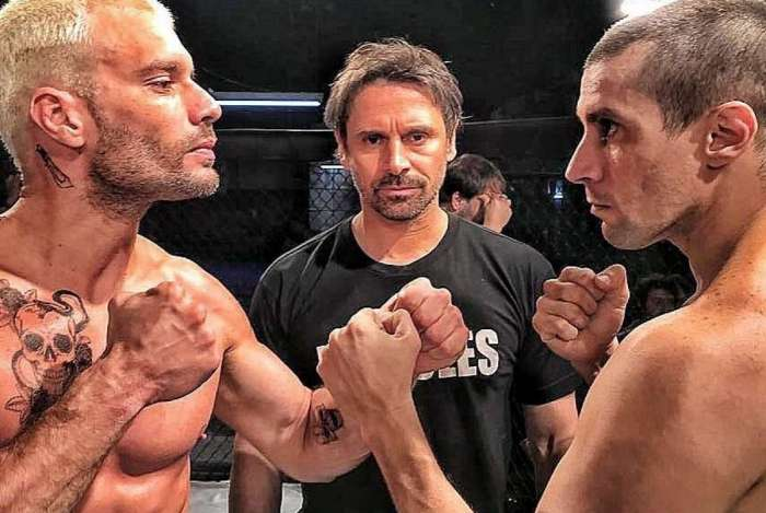 No alto, Duda Nagle (E). Depois, Murilo Rosa entre Robson Maia e Bruno Bellarmino. Acima, Rafael Losso nos bastidores da série 'Rio Heroes'