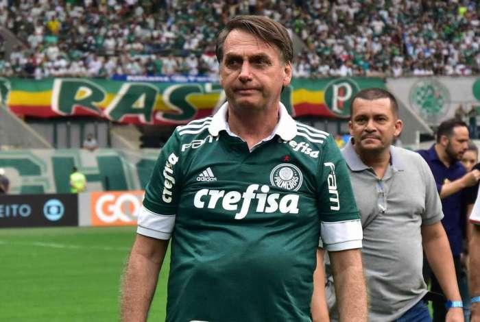 O presidente eleito, Jair Bolsonaro, durante partida entre as equipes do Palmeiras e Vitória