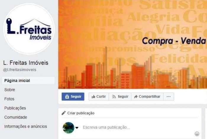 Perfil no Facebook da imobiliária da corretora