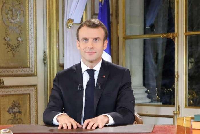 Presidente francês, Emmanuel Macron, durante comunicado oficial