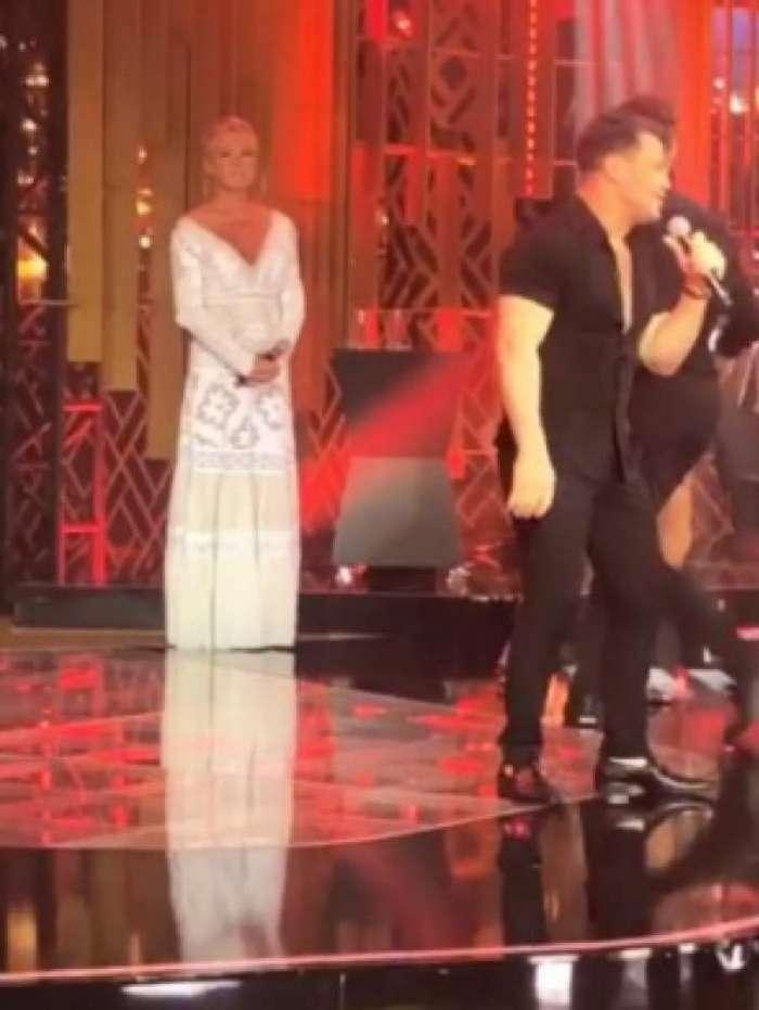 Xuxa e Eduardo Costa na gravação do 'Família Record'