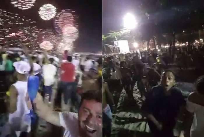 Homem filmava queima de fogos no Réveillon em Copacabana quando foi rendido e teve celular roubado