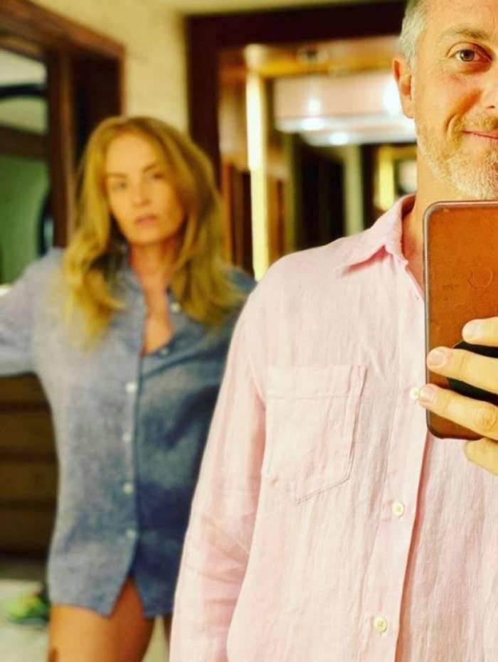 Luciano Huck e Angélica vestindo camisa rosa e azul