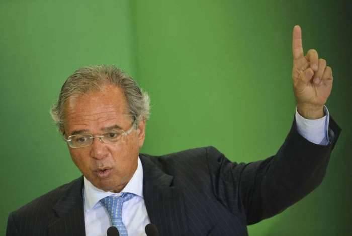 O ministro da Economia Paulo Guedes, durante cerimônia de posse aos presidentes dos bancos públicos.
