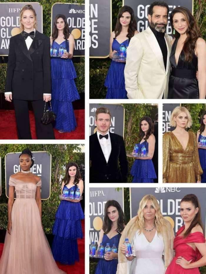 Modelo fotografou com todos os atores que compareceram a premiação enquanto entregava água